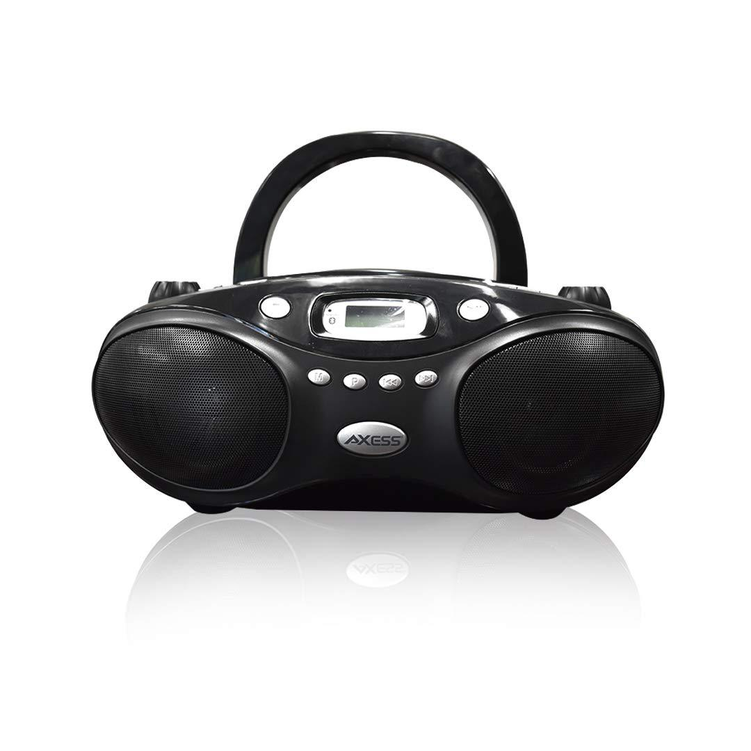 AXESS Portable Thunder Blast Bluetooth Boombox, CD Player, AM/FM Radio - Black (PBBT3862)