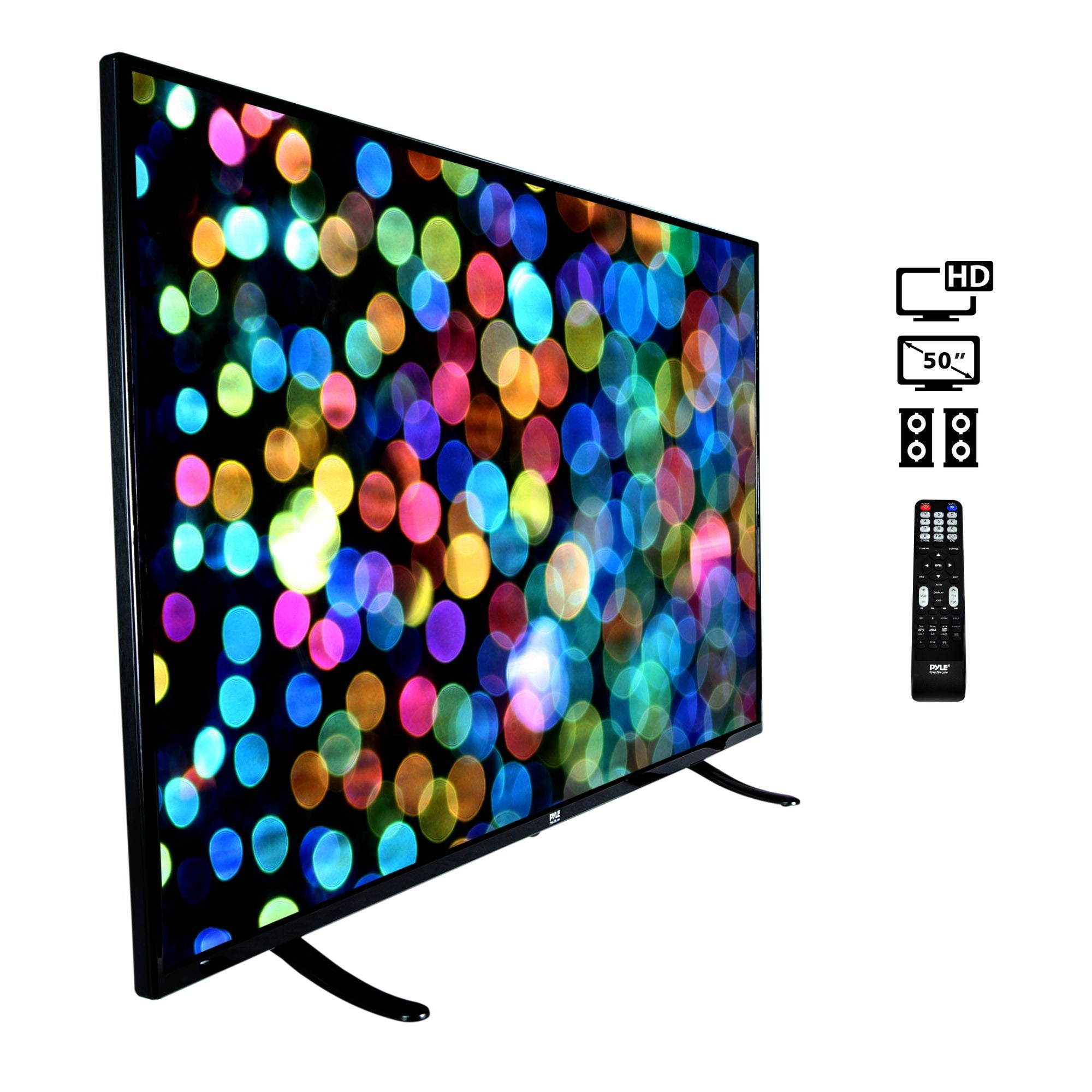 Pyle 50-Inch 1080p Ultra HD TV |  Hi Res Widescreen Monitor | Audio Streaming | Mac PC | Stereo Speakers | Wall Mount (PTVLED50)