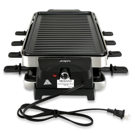 NutriChef Raclette Grill, Two-Tier Party Cooktop, Metal Grill Surface (PKGRST42)