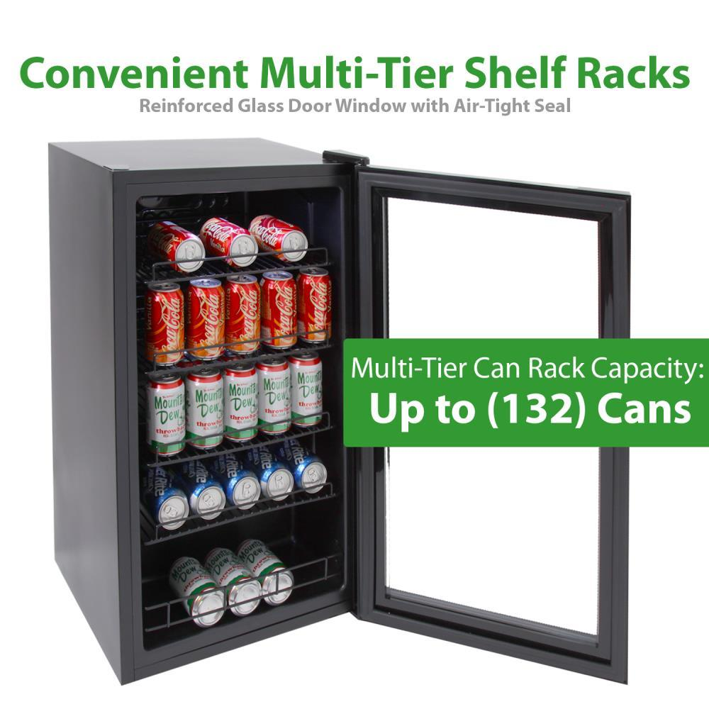 NutriChef Compact Beverage Fridge, 132 Can Capacity, (PKTEBC85)
