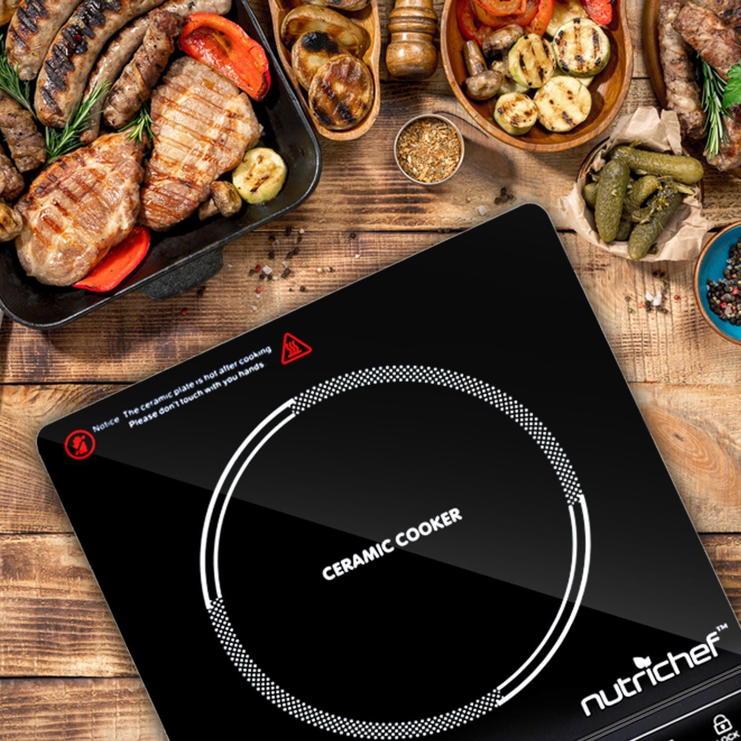 NutriChef B Countertop Burner, Infrared Cooktop, Ceramic Cookware, Electric Stovetop, Black Tempered Glass, LCD Display, Keep Warm, 1200W, 120V (PKST14)