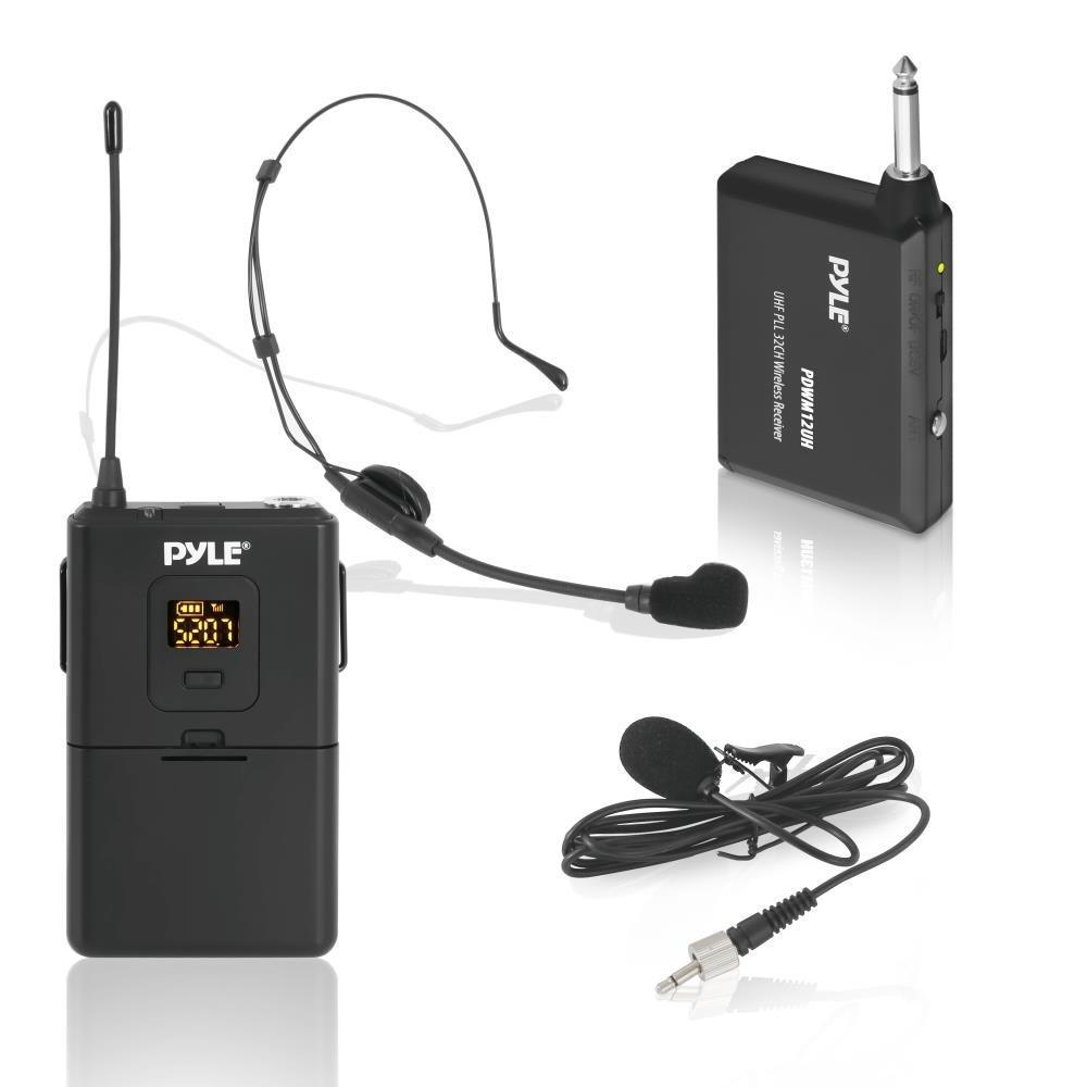 Pyle 32-Ch. UHF Wireless Microphone System Set, Headset & Lavalier Mics, Beltpack Transmitter, (PDWM12UH)
