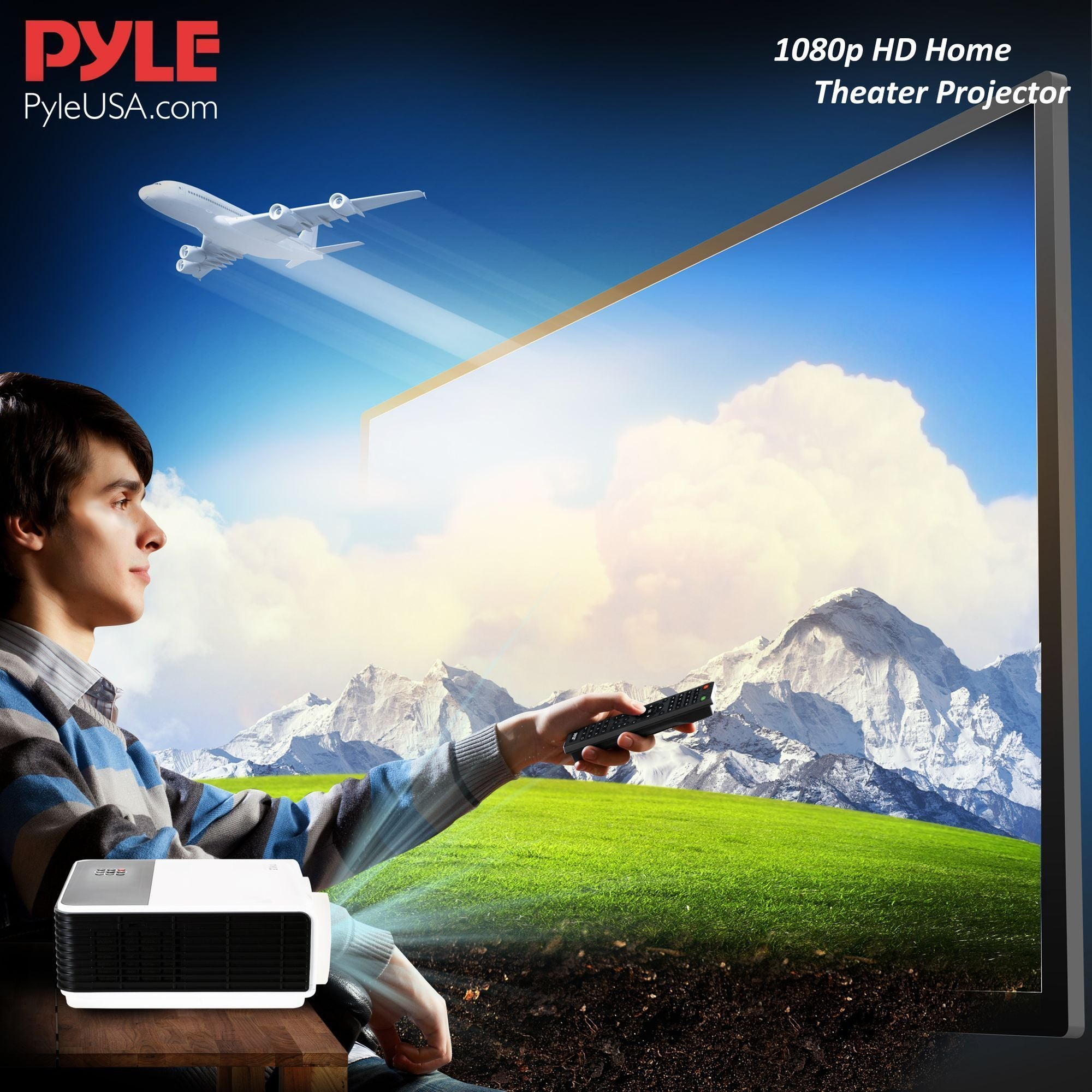 Pyle 1080p HD Home Theater Projector, Works With MAC & PC (PRJLE83)