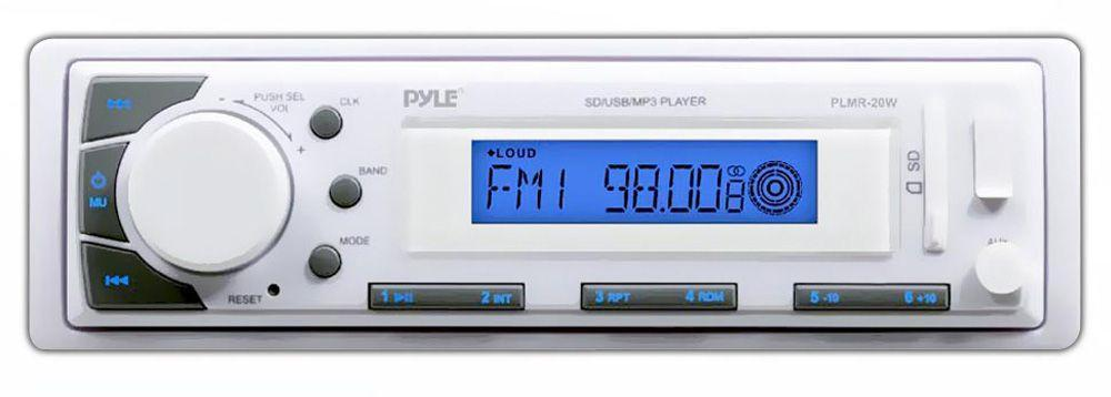 Pyle Bluetooth Marine Stereo Radio - 12v Single DIN Style Digital Boat In dash Radio Receiver System with Digital LCD, RCA, MP3 / USB Reader, AM FM Radio - Remote Control Included - PLMR20W (White)