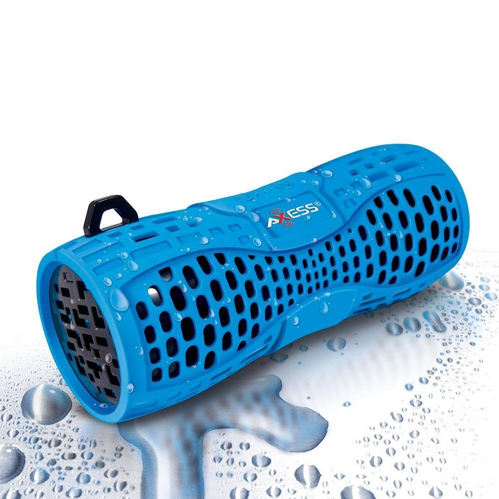 AXESS SPBW1035 Portable Water Resistant Bluetooth Loud Speaker System with Speakerphone to Answer your Calls In Blue
