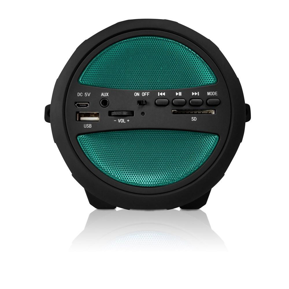 AXESS  Portable Thunder Sonic Bluetooth Cylinder Loud Speaker with Built-in FM Radio, SD Card, USB, AUX Inputs in Green (SPBT1041GN)