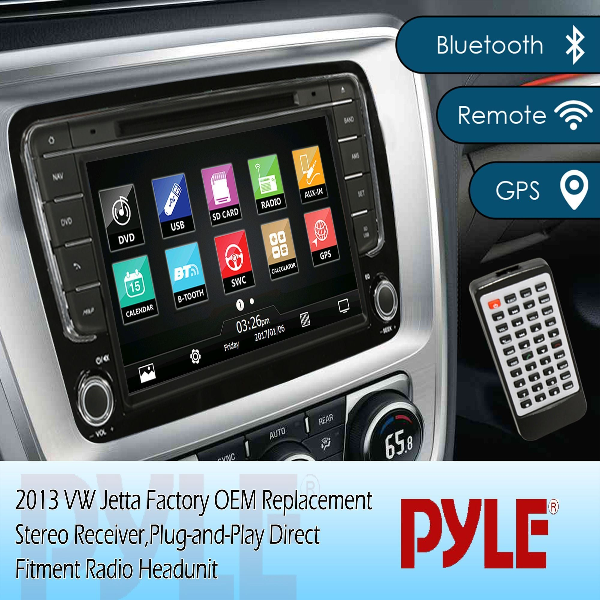 Pyle VW Jetta 2013 Bluetooth Console Stereo Receiver, 8'' HD Touchscreen, (PVWJETTA13)
