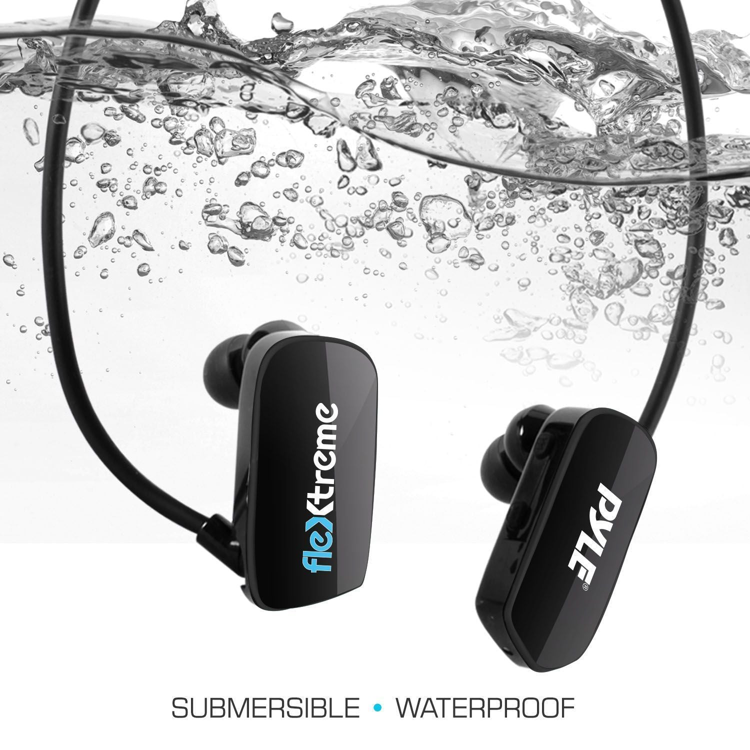 Pyle MP3 Player Bluetooth Headphone - Waterproof Swim IPX8 Flexible Wrap-Around Style Headphones Built-in Rechargeable Battery Bluetooth w/ 8GB Flash Memory & Replacement Earbuds - PSWP28BK
