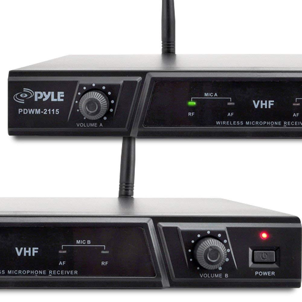 PylePro Dual Ch. VHF Wireless Microphone Receiver System, Handheld & Lavalier Mics, Belt Pack Transmitter, Headset, (PDWM2115)