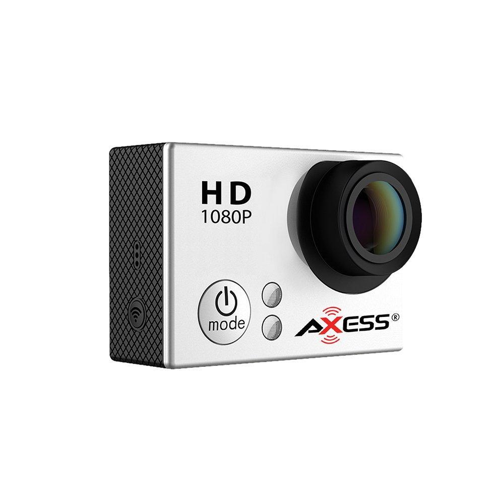 AXESS CS3604 1080p Full HD Wide Angle Lens Sports and Action Camera with Waterproof Housing and Accessories SILVER