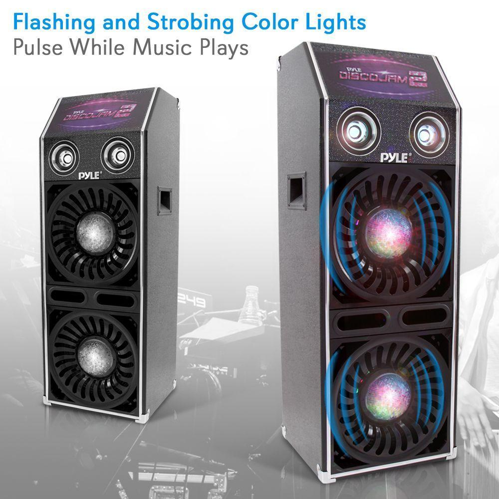 PylePro Disco Jam 2 Speaker System, Flashing DJ Lights, (PSUFM1070P)