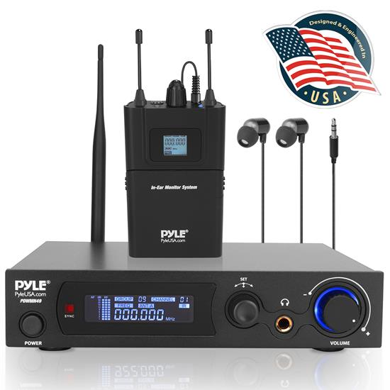 Pyle UHF Wireless Audio Receiver System, Beltpack/In ear Transmitter, (PDWMN49)