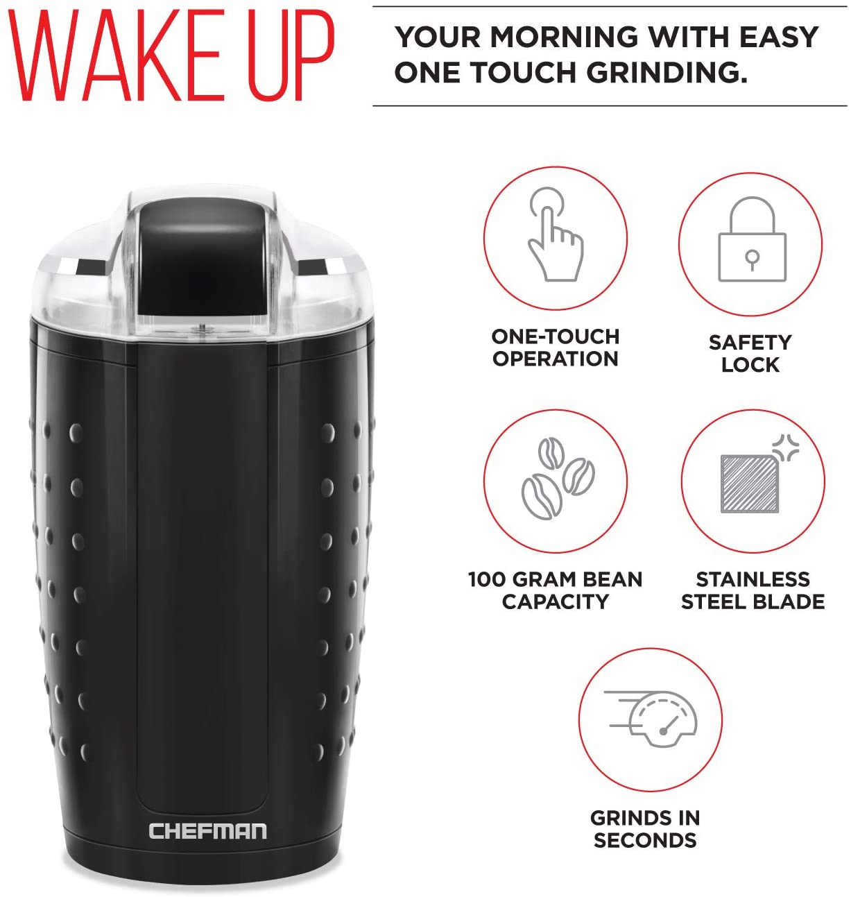 Chefman Electric One-Touch Coffee Grinder for Fresh Coffee Grounds, Dried Nuts, Herbs, and Spices