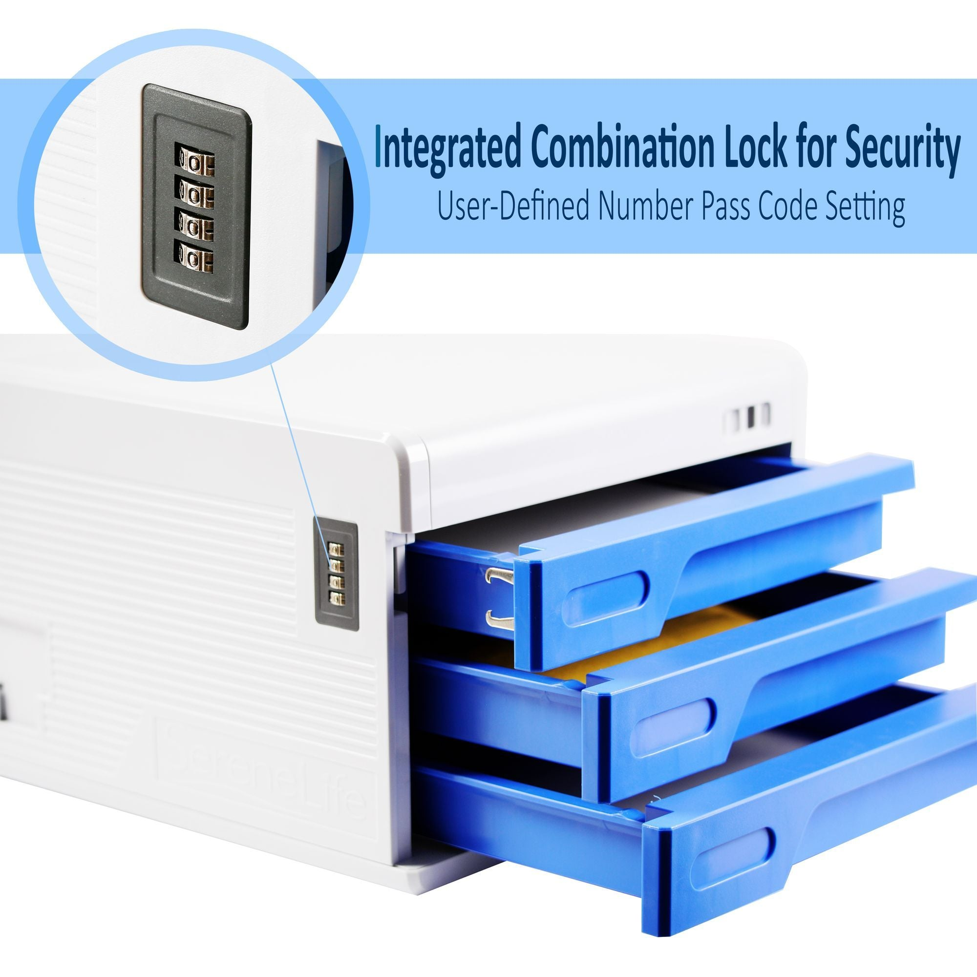 SereneLife Security File Cabinet, Multi-Drawer, Integrated Combination Lock, (SLFCAB10)