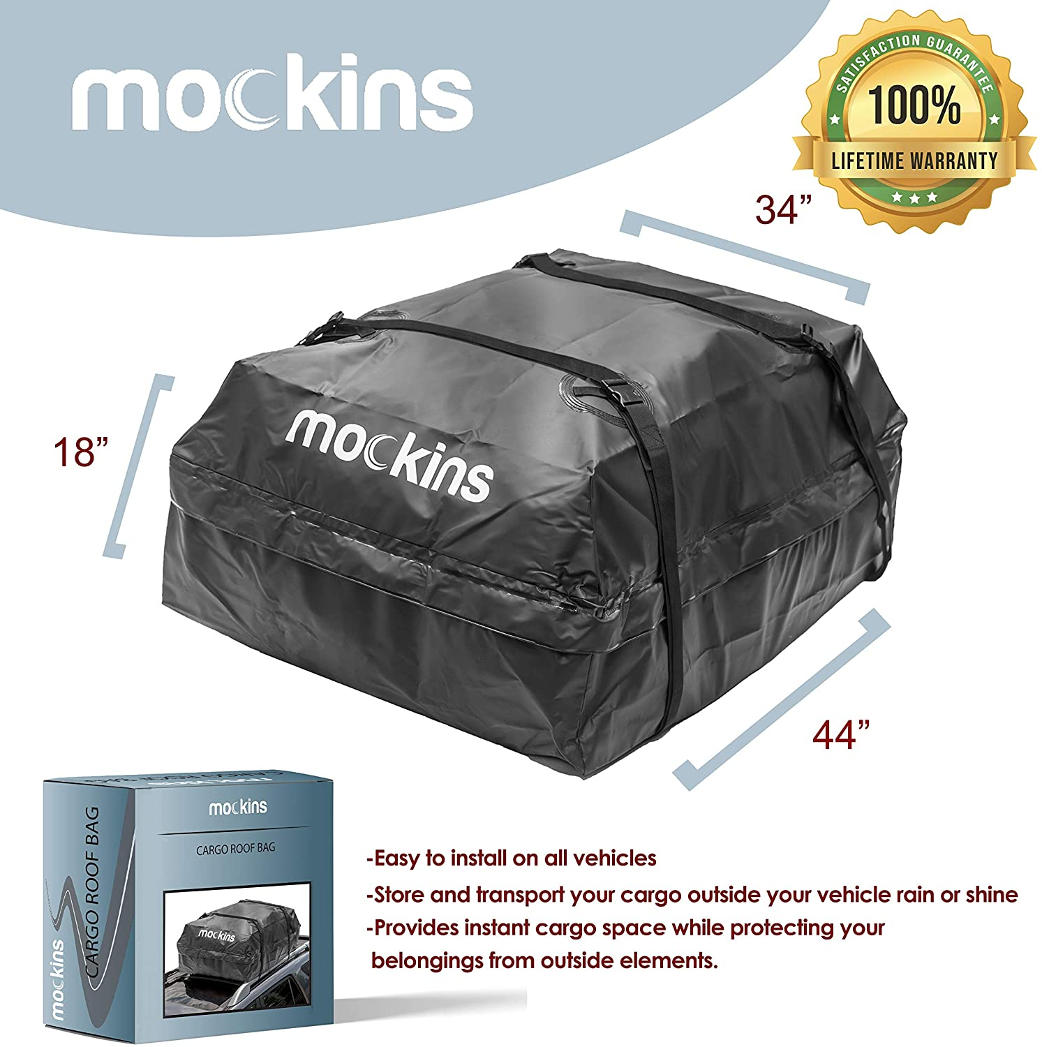 Mockins Heavy Duty Vehicle Cargo Roof Bag, Abrasion Resistant, Waterproof - 15 Cu.ft. Capacity (MARB31)