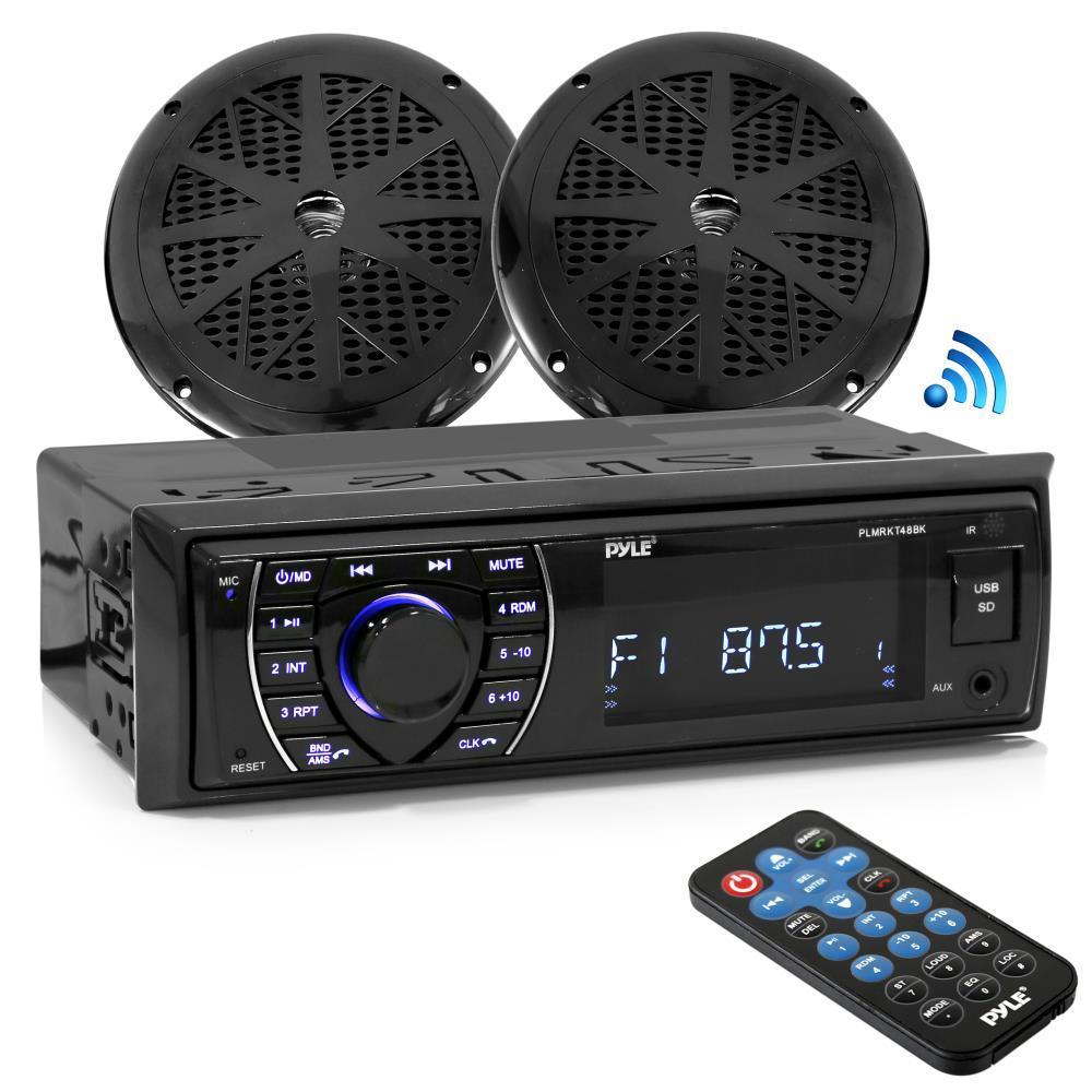 Pyle Bluetooth Stereo Receiver, AUX, USB, SD, RCA, Support, AM/FM Radio, 2 5.25'' Waterproof Speakers - Black (PLMRKT46BK)