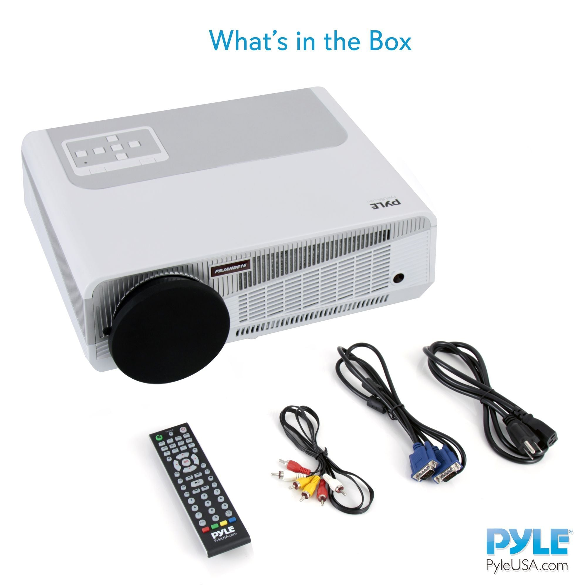 PyleHome HD Hi-Res Smart Projector with Built-in Dual Core Android CPU, High Speed Wi-Fi Wireless Internet, 1080p & Blu Ray Disc Support, Projection Size up to 120 -inches (PRJAND615)
