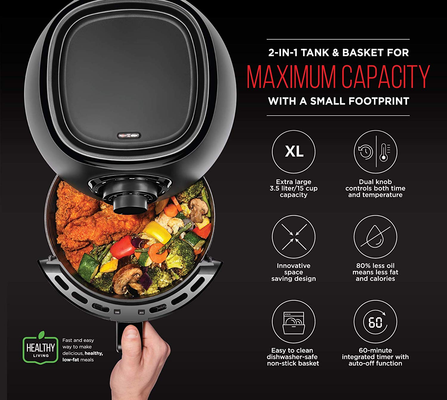 Chefman TurboFry 3.6 Quart Air Fryer Oven w/ Dishwasher Safe Basket and Dual Control Temperature, 60 Minute Timer & 15 Cup Capacity, BPA-Free, Matte Black, Healthy Frying Cookbook Included