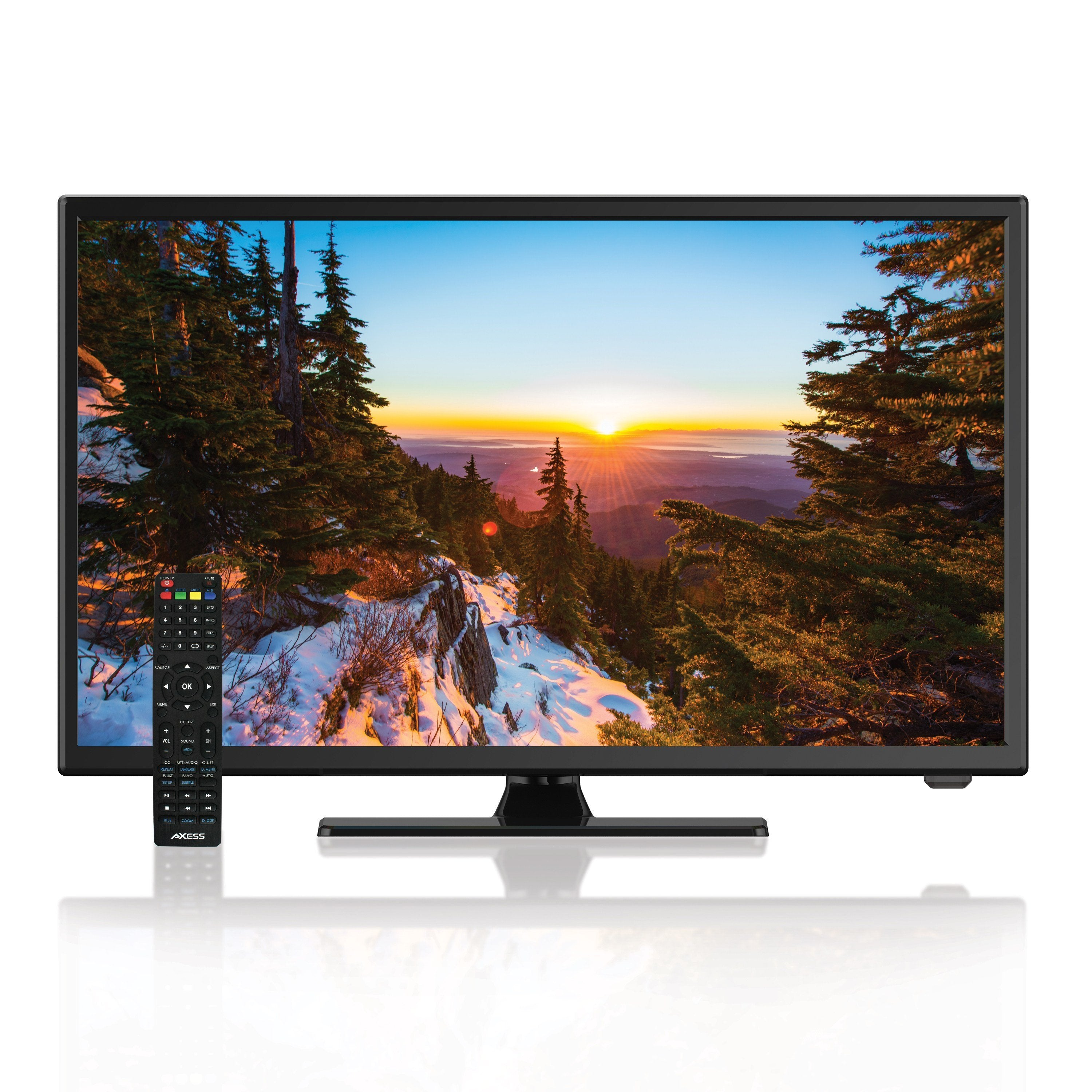 AXESS 22-Inch 1080p LED HDTV, Features 12V Car Cord Technology, VGA/HDMI/USB Inputs, Built-in DVD Player, Full Function Remote  (TVD1805-22)