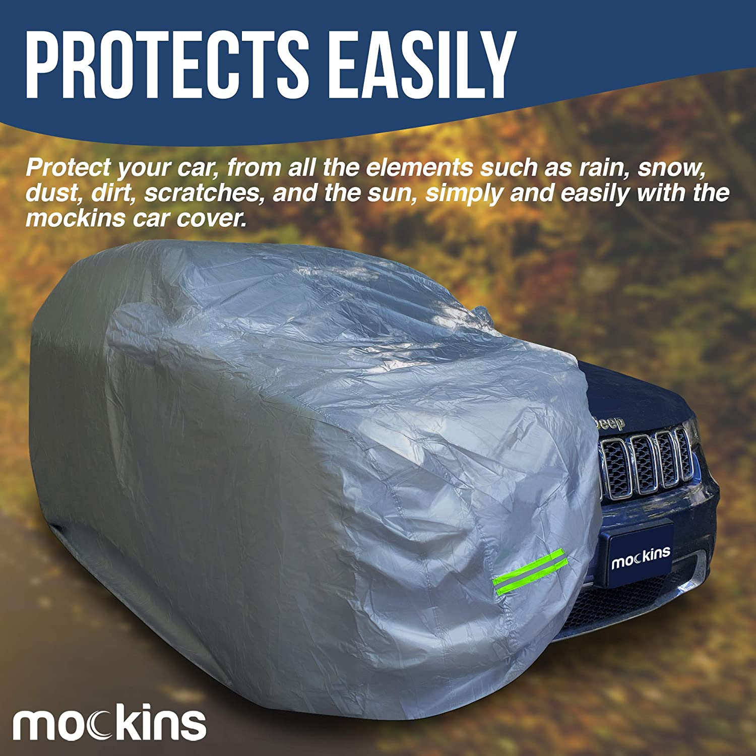Mockins 190'' x 75'' x 72'' Heavy Duty 190T Polyester Car Cover, Waterproof, SUV - Silver (MASUV-COV-M-49)