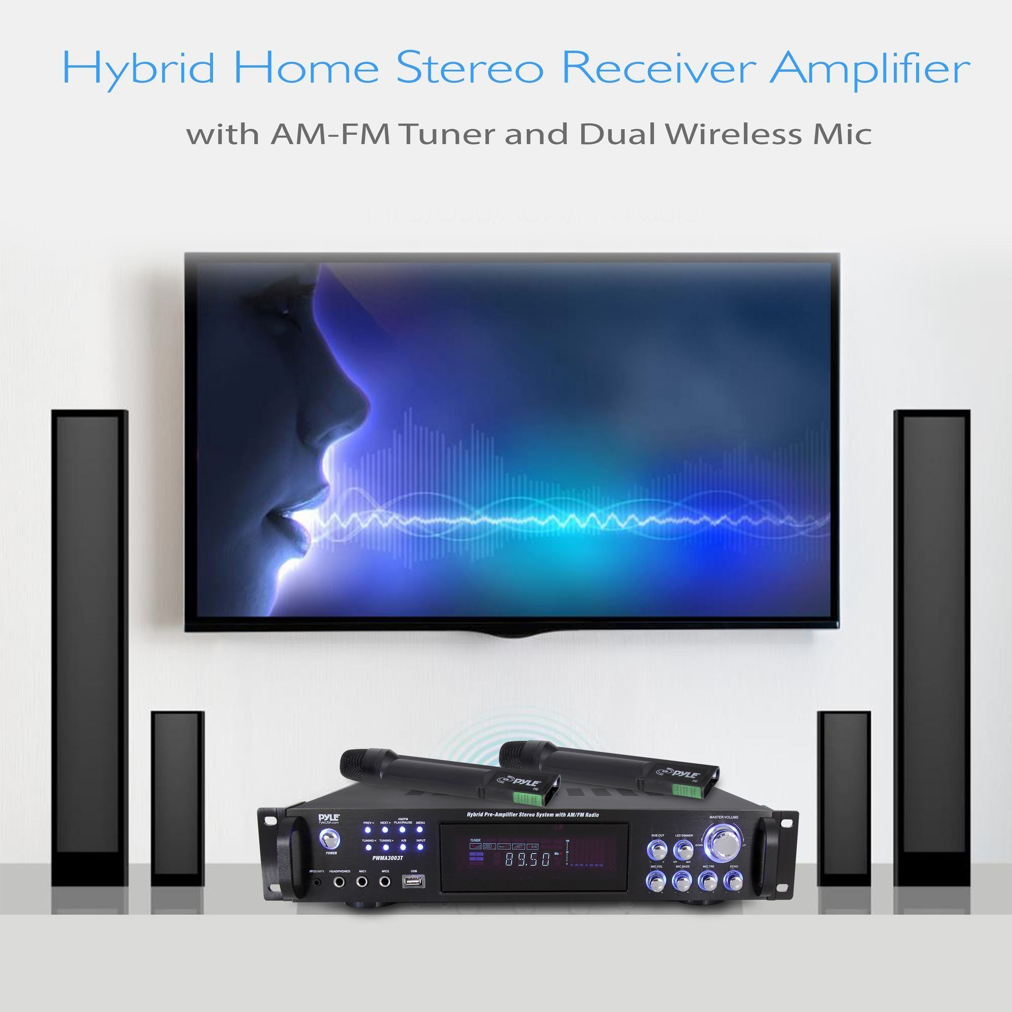 Pyle 4 Channel Home Audio Power Amplifier - 3000 Watt Stereo Receiver w/ Speaker Selector, AM FM Radio, USB, Headphone, 2 Wireless Mics for Karaoke, Great for Home Entertainment System - PWMA3003T