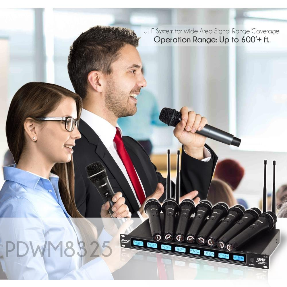 Pyle UHF Wireless Microphone System, 8 Channels, 8 Handheld Mics, Universal Mount, LCD Digital Display,(PDWM8325)