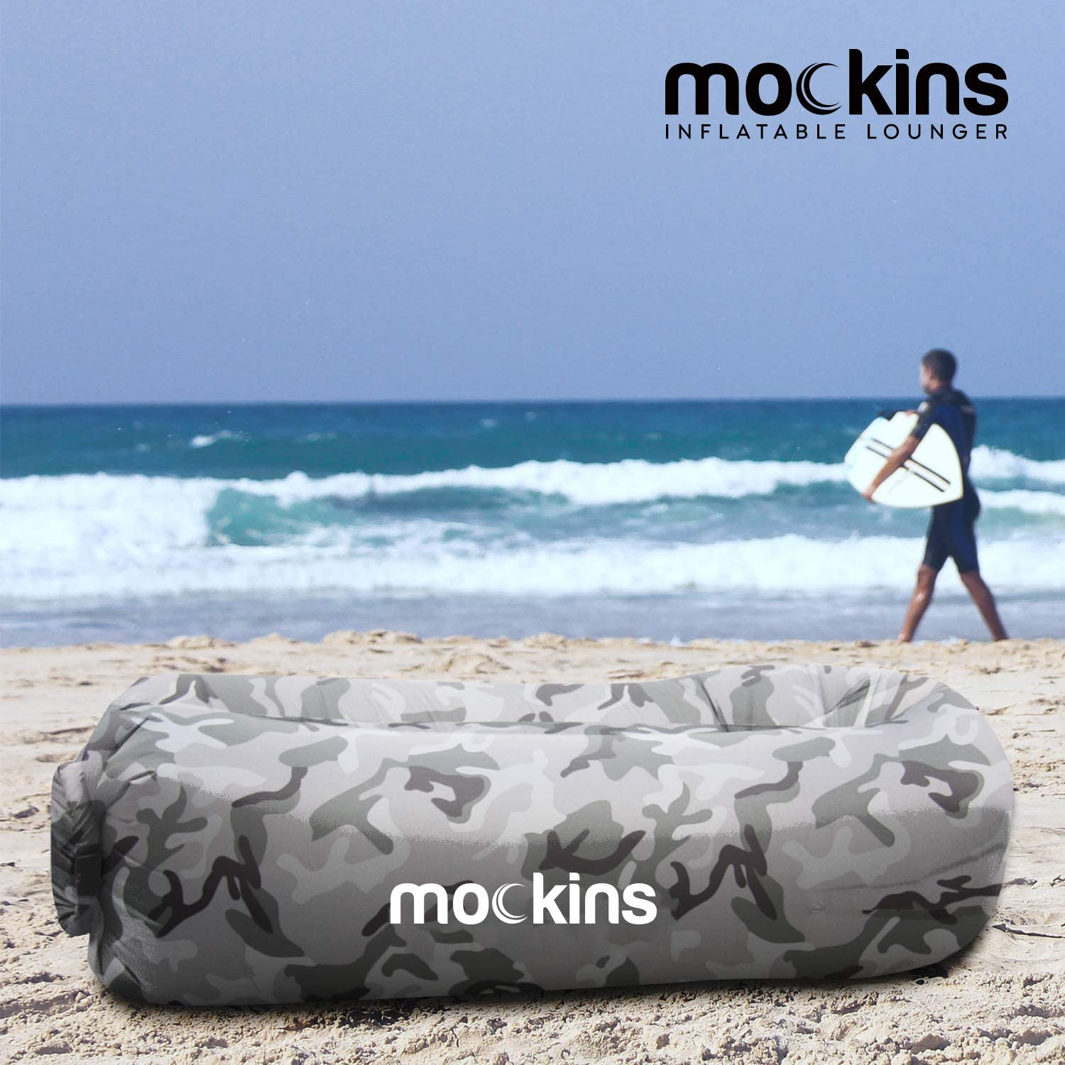 Mockins Portable Compact Inflatable Lounger, Travel Bag Pouch - Gray Camo (MMINFGRYCA52)
