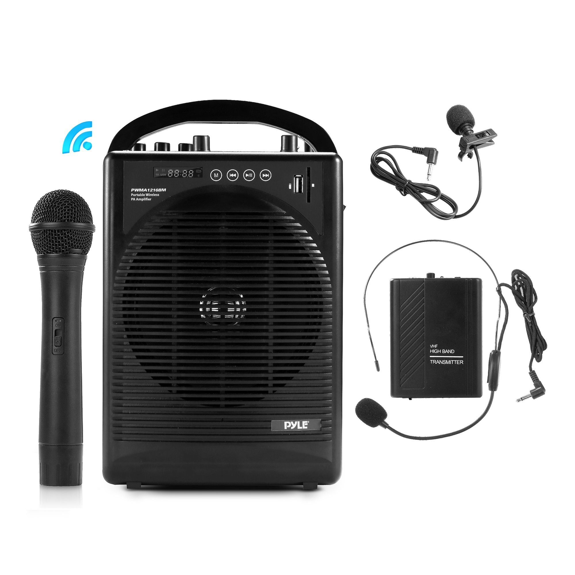 Pyle Portable VHF Wireless Amplifier System, Microphone Set, Bluetooth V. 3.0, Rechargeable, USB, SD, AUX, 1/4'', (PWMA1216BM)