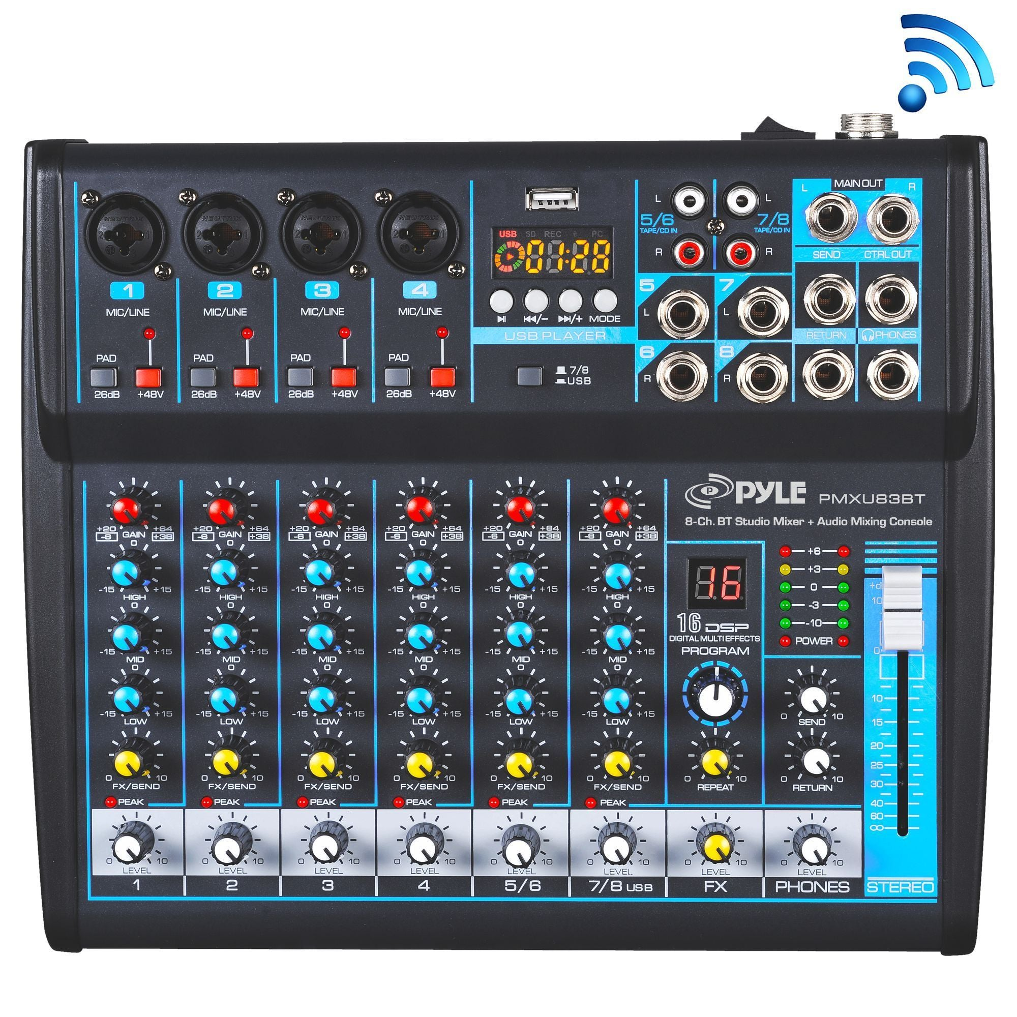 Pyle Professional Audio Mixer Sound Board Console - Desk System Interface with 8 Channel, USB, Bluetooth, Digital MP3 Computer Input, 48V Phantom Power, Stereo DJ Streaming & FX16 Bit DSP-(PMXU83BT)