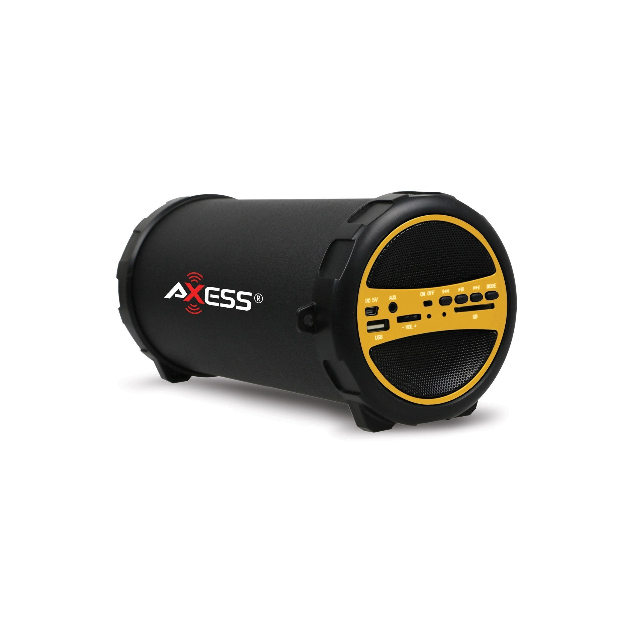 "AXESS  Portable Bluetooth Indoor/Outdoor 2.1 Hi-Fi Cylinder Loud Speaker with Built-In 3"" Sub and SD Card, USB, AUX Inputs in Yellow (SPBT1031YL)"