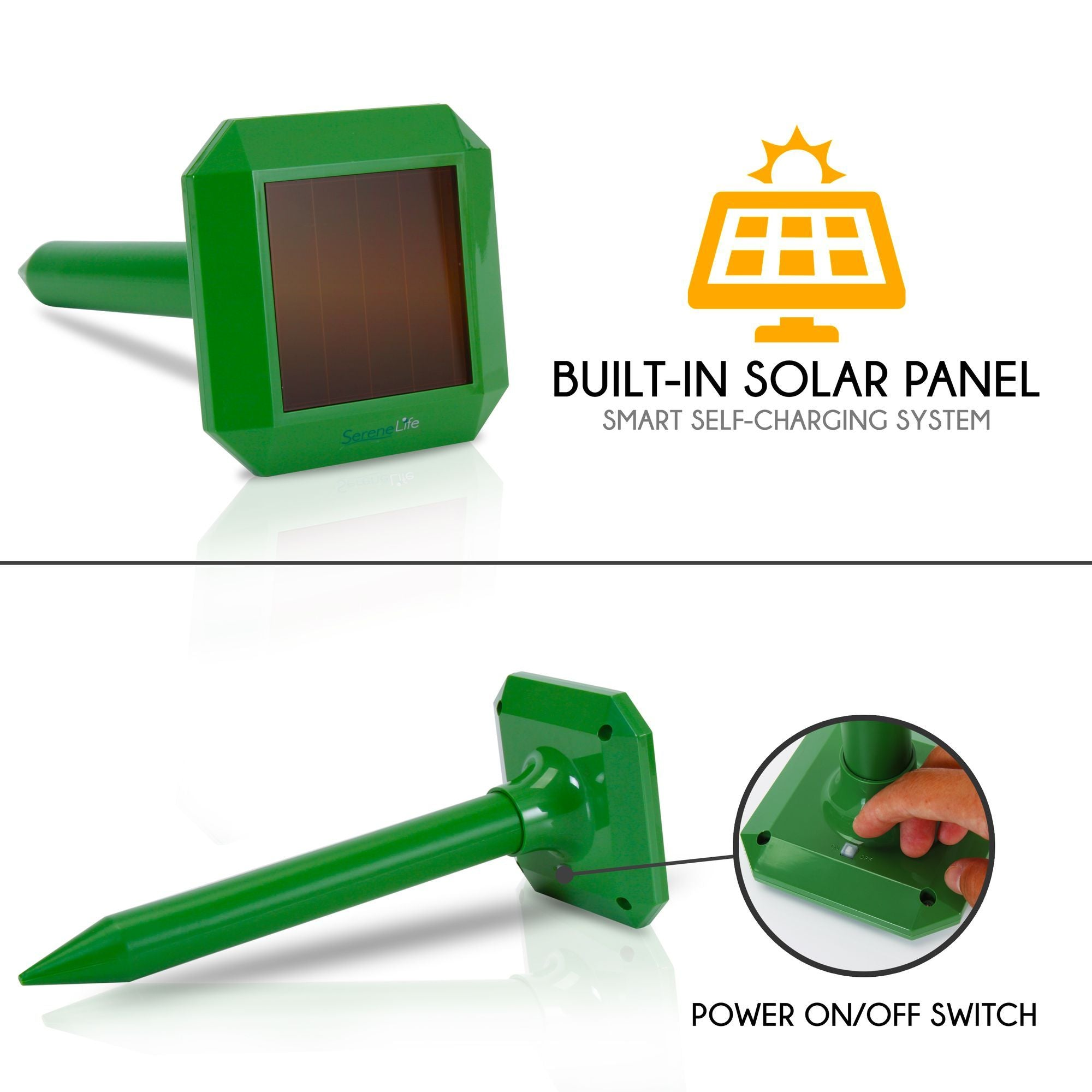 SereneLife Solar Power Mole Repeller - Animal & Pest Control (PSLCRP6)