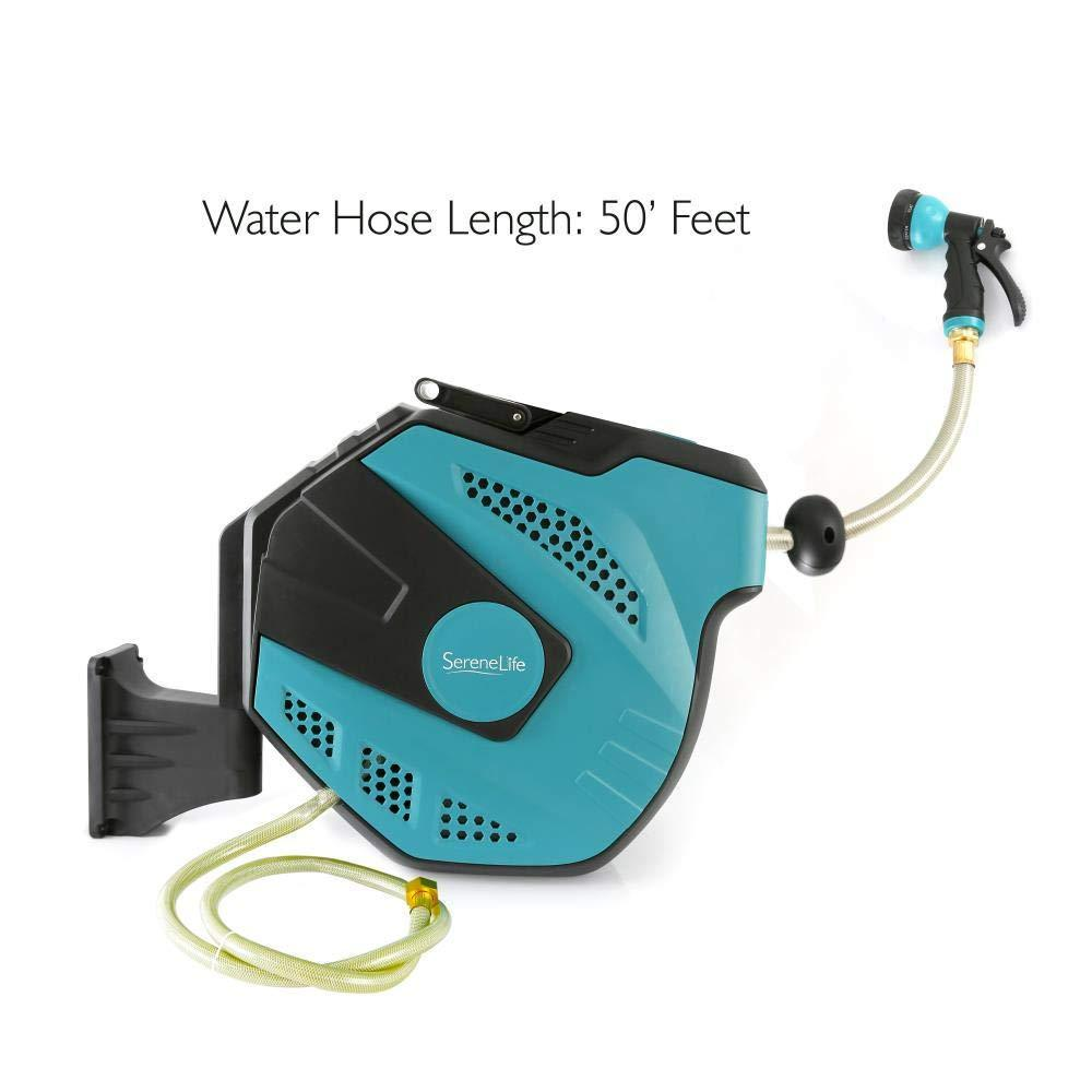 SereneLife Retractable Garden Hose with Mountable Auto Rewind Reel Box Housing + 7 Pattern Water Spray (SLWHR50)