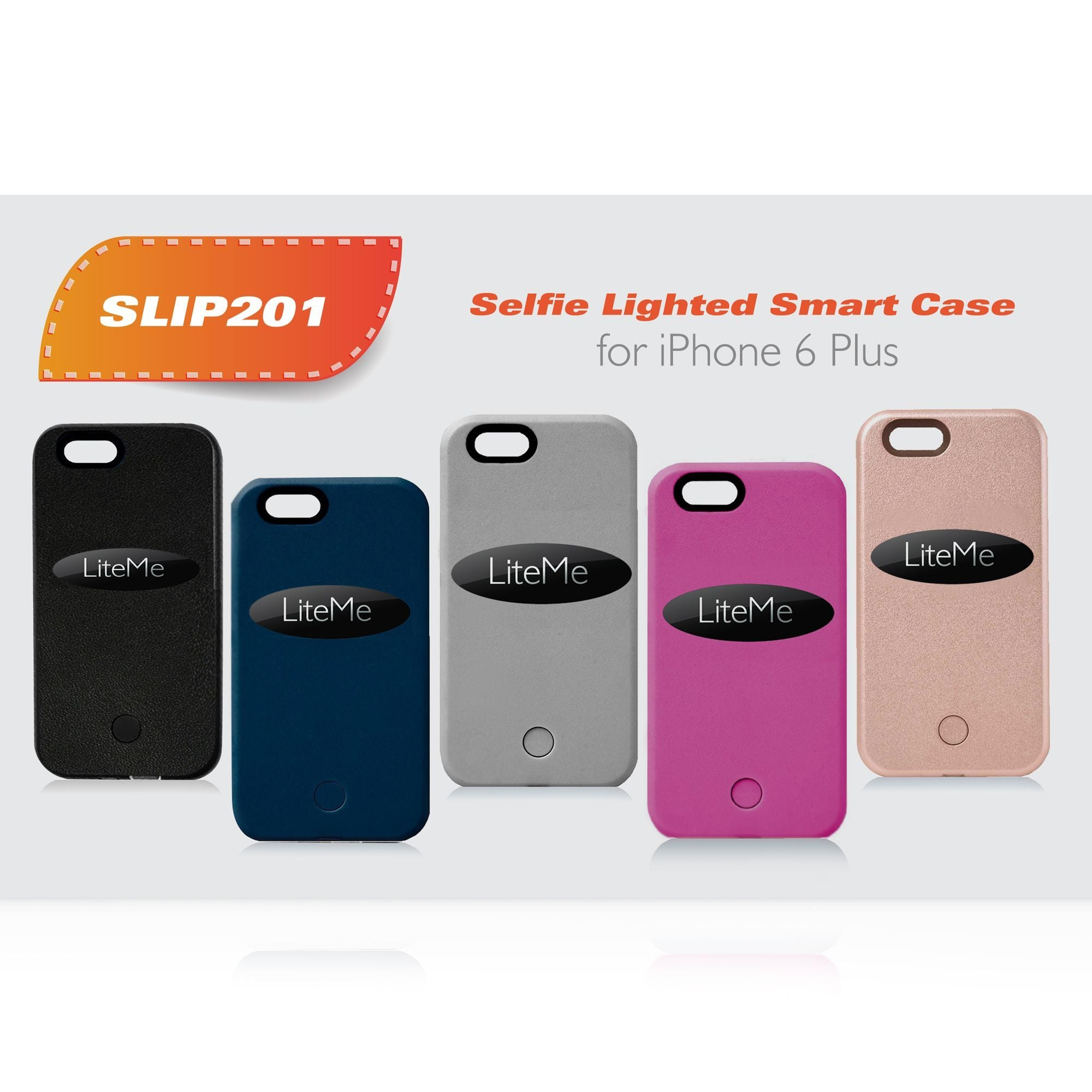 Serene Life SLIP201PN iPhone 6 Plus LED Selfie Light Case & Battery Juice Pac