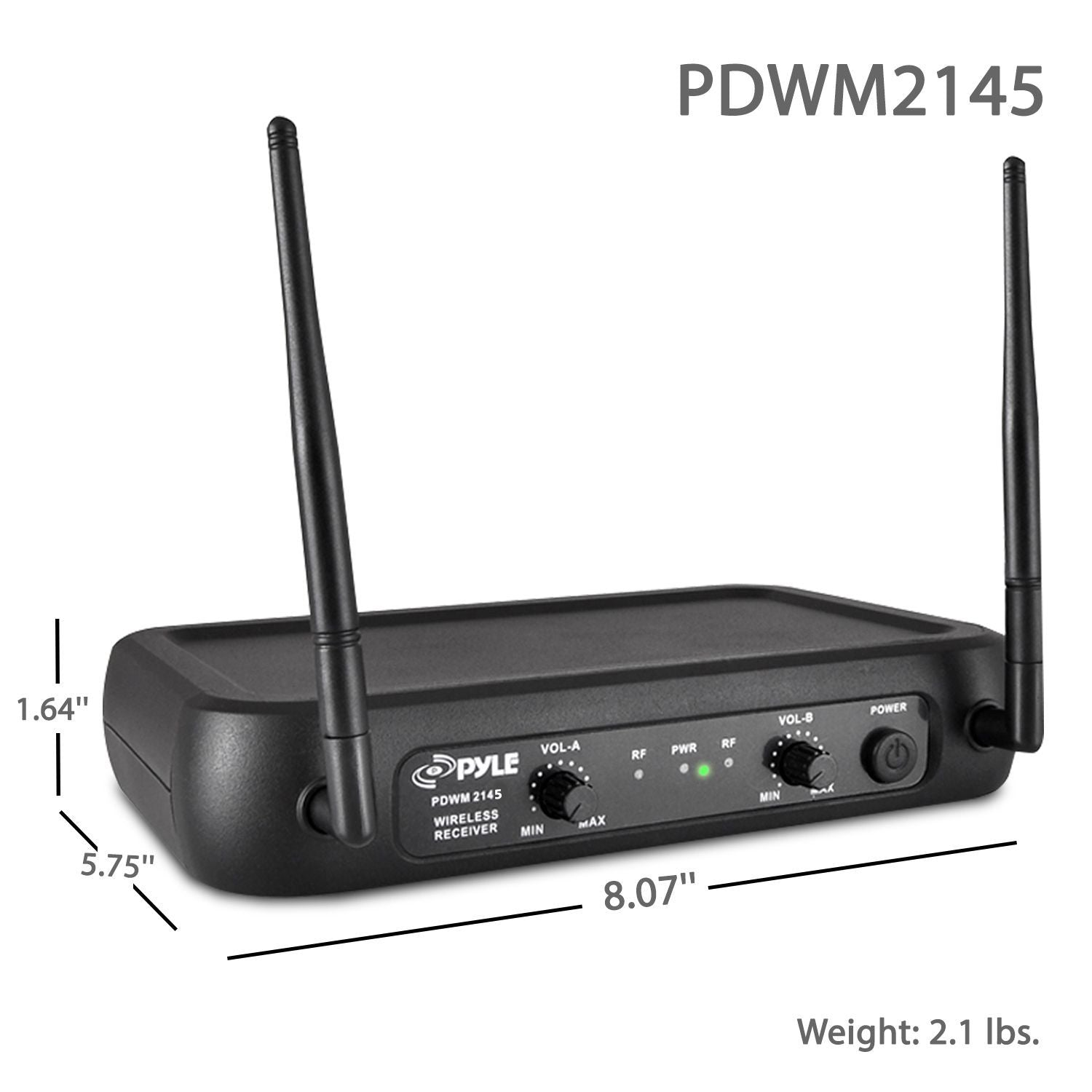 Pyle Wireless Microphone System, VHF Fixed Frequency, 2 Body-Pack Transmitters, 2 Lavalier Mics, 2 Headset Mics (PDWM2145)