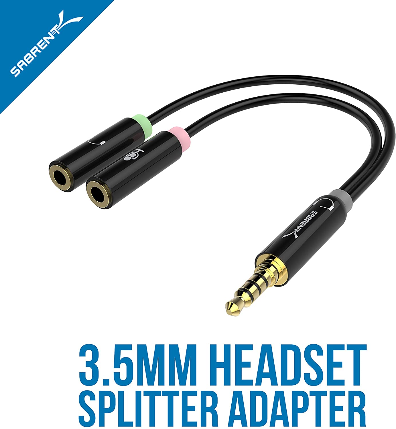 Sabrent 3.5mm Headset Splitter Adaptor Cable, Headphone/Microphone Plugs (CB-AUHM)