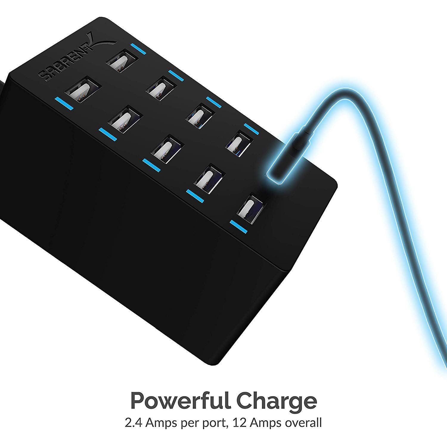 Sabrent 60 Watt 10-Port Family-Sized Desktop USB Rapid Charger. Smart USB Ports with Auto Detect Technology