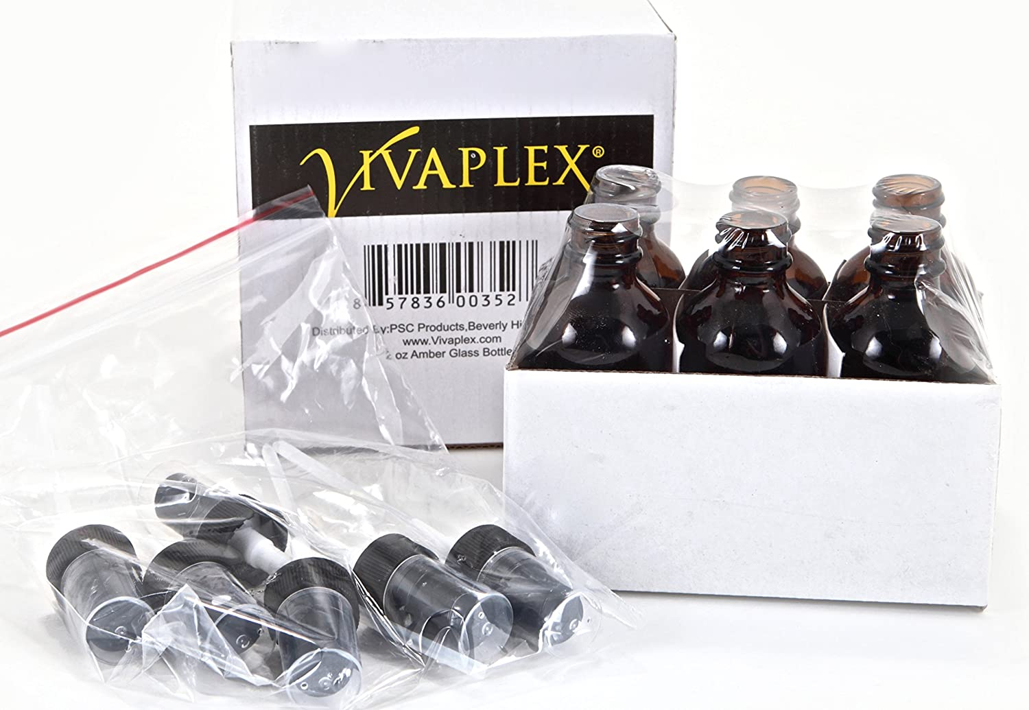 Vivaplex, 6, Amber, 2 oz Glass Bottles, with Black Fine Mist Sprayers