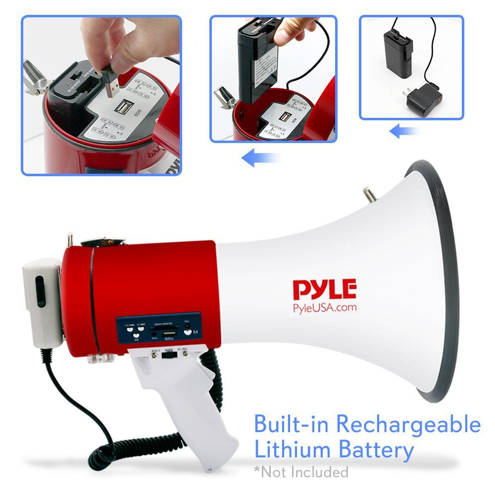PylePro Megaphone Bullhorn with USB/SD Readers, Aux (3.5mm) Jack (PMP57LIA)