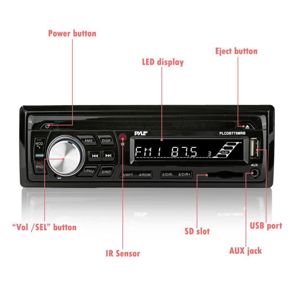 Pyle Bluetooth Stereo Receiver, 2 Waterproof/Shockproof Speakers, CD, AUX, USB, SD, RCA, AM/FM Radio, (PLCDBT75MRB)