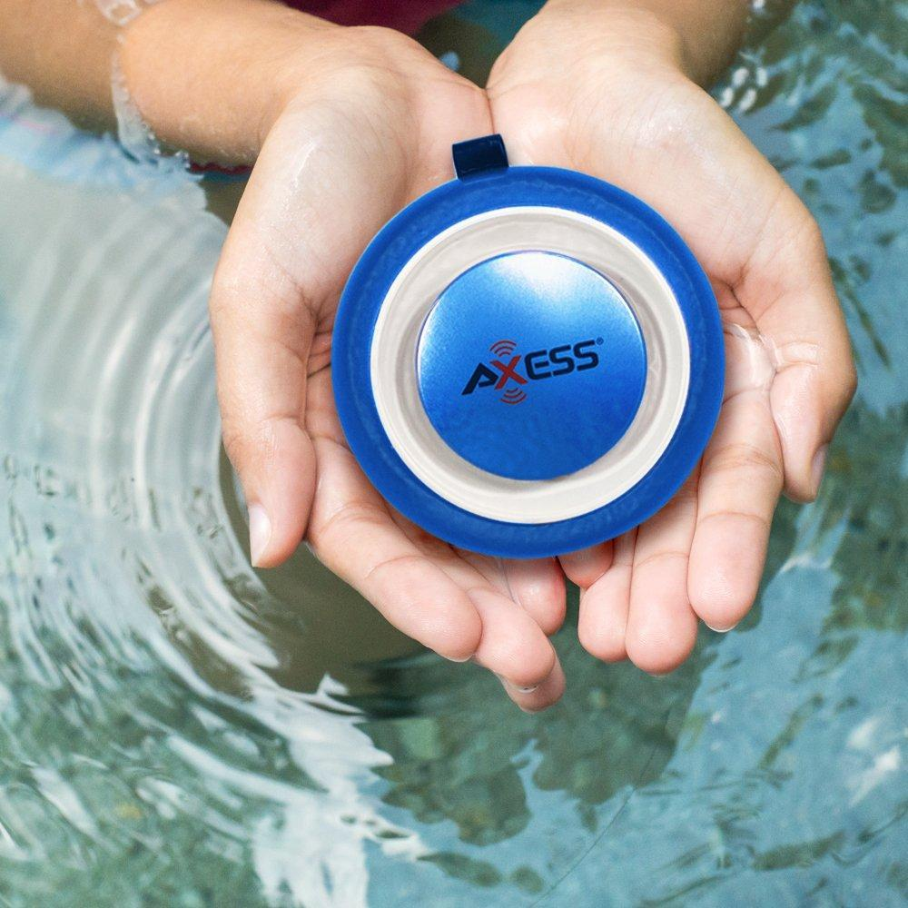 AXESS SPBW1048 IPX4 Water Resistant Bluetooth Speaker with Built-In Rechargeable Battery and Aux Input In Blue
