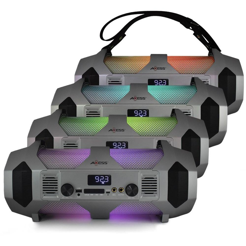 AXESS SPBT1064 Portable Indoor/Outdoor Bluetooth Media Speaker with Built-In RGB Light Effects Rechargeable Battery and Microphone/Guitar Inputs Black
