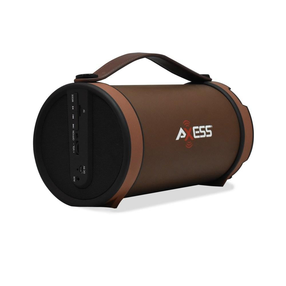 AXESS  Portable Bluetooth Speaker 4'sub Indoor/Outdoor, FM Radio,SD Card,USB,AUX Inputs-Brown (SPBT1033BN)