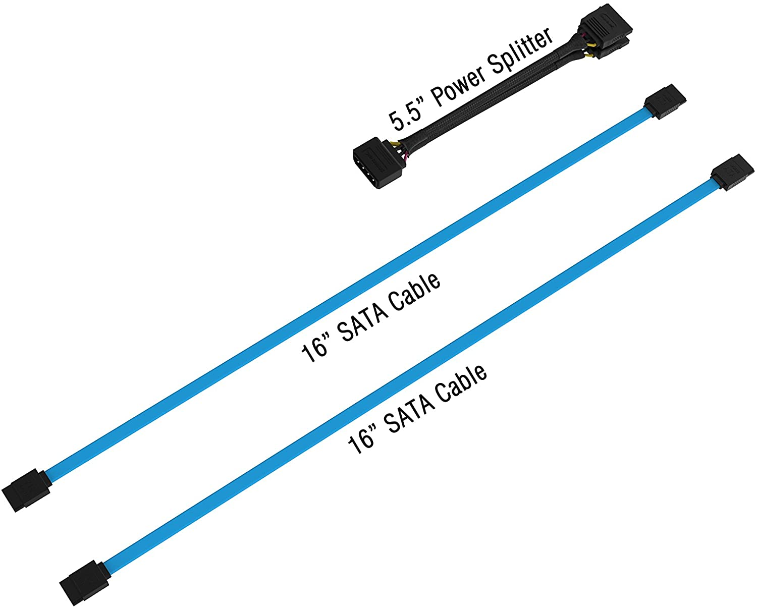 "Sabrent 5.5"" Molex 4 Pin to x 2 15 Pin SATA Power Splitter Cable, 16"" x 2 SATA Data Cables (CB–SDSP)"