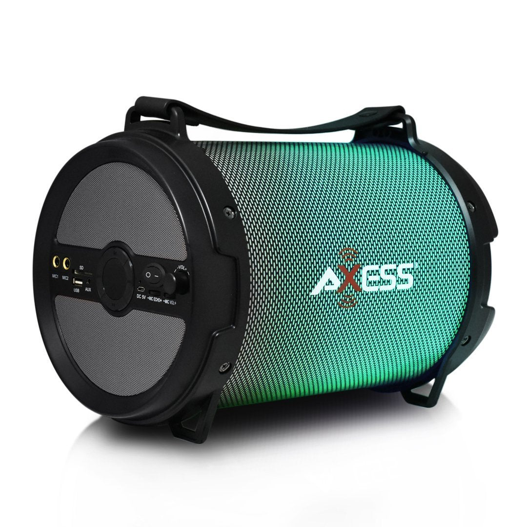 "AXESS SPBL1046 Portable Bluetooth 2.1 LED Lit Hi-Fi Cylinder Loud Speaker with Built-In 6"" Sub and SD Card, USB, AUX, 2 Microphone Inputs in Black"
