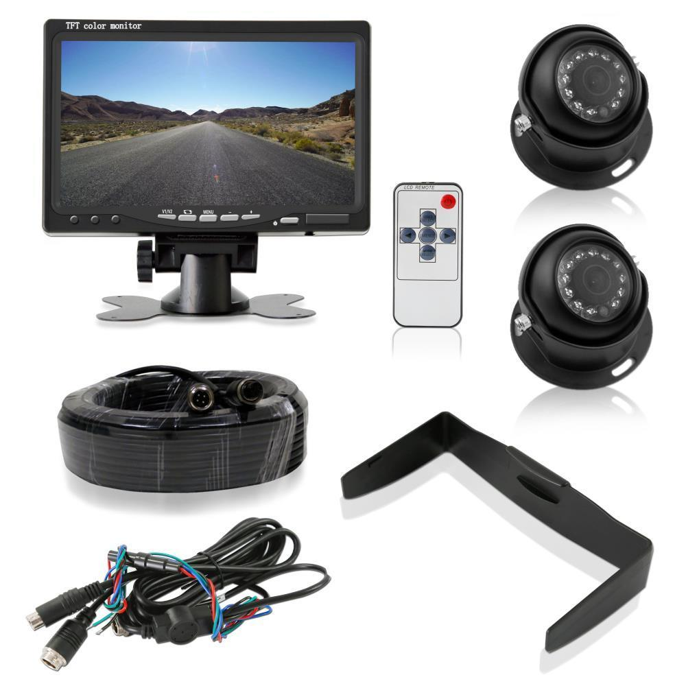 Pyle Rear/Front View Vehicle Cameras, 7'' LCD Monitor System, IP69 Waterproof, Night Vision, Universal Mount (PLCMTR7250)