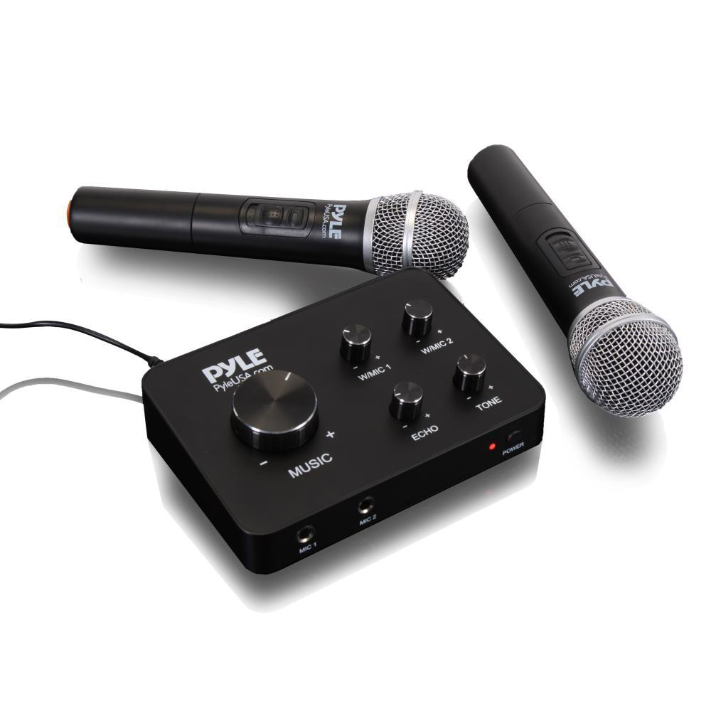 Pyle Home Theater Karaoke Microphone System - Connects to TV, Receiver, Amplifier, Speaker & More, Includes Wireless Mics (PDWMKHRD22WM)