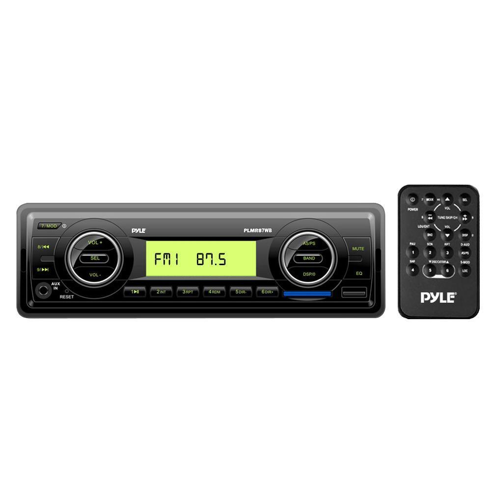 Pyle Marine Stereo Radio Headunit Receiver, Aux (3.5mm) MP3 Input, USB Flash & SD Card Readers, Remote Control, Single DIN (Black) (PLMR87WB)