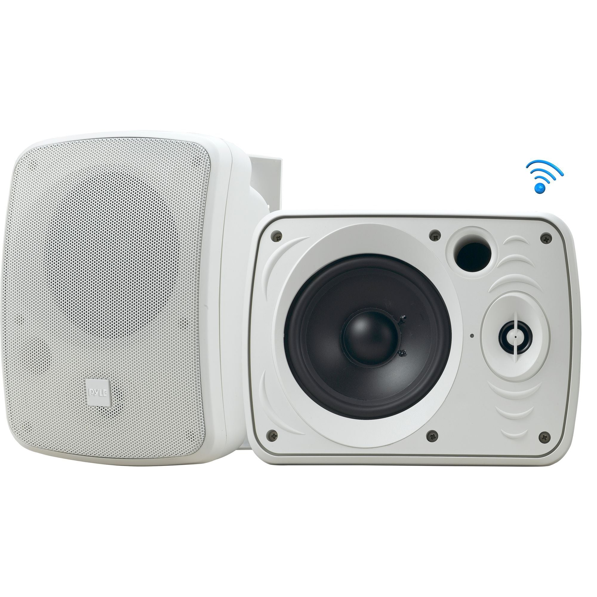 Pyle Bluetooth Dual Wall Mount Speakers, Indoor/Outdoor, Waterproof IP-X4 Ratin, 2-Way Stereo Sound - White (PDWR55BTRFW)