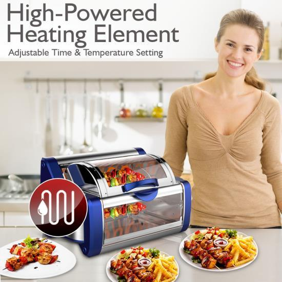 NutriChef Digital Countertop Rotisserie & Grill Oven - Rotating Kitchen Cooker (PKRTVG65BL)