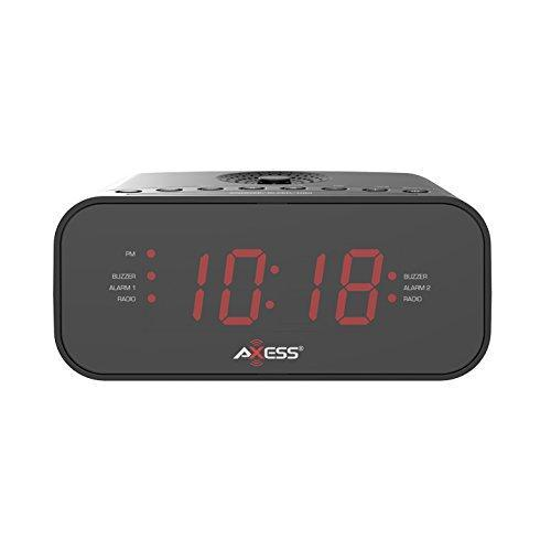 "Axess 1.2"" Red LED Display Clock with Digital AM/FM Radio, Dual Alarm Settings, Calendar Function, Aux Input Jack,  Battery Backup for Power Interruption (Batteries are not Included) (CKRD3803)"
